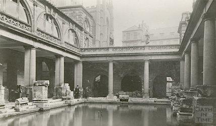 Roman Baths, Great Roman Baths looking North East c.1909