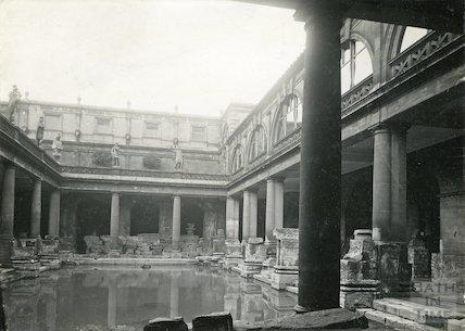 Roman Baths, Great Roman Bath looking West, c.1930s