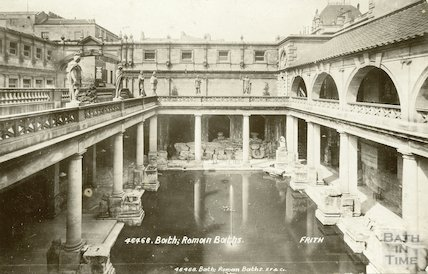 Great Bath looking west, Roman Baths, Bath 1901