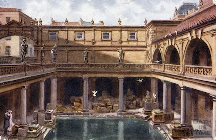 Great Roman Bath looking West, c.1905