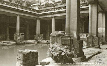 Roman Bath, South West corner of the Great Roman Bath c. 1912