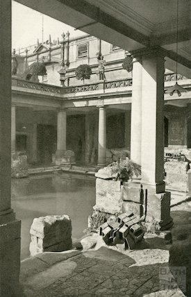 Roman Bath, view looking South West in the Great Roman Bath c. 1938