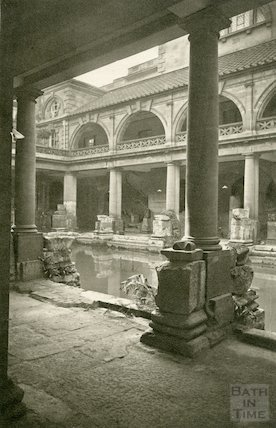 Roman Baths, View of Great Roman Bath looking North West, c.1900