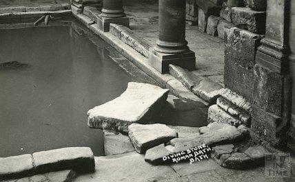 Roman Baths diving stone - Great Roman Bath c. 1930