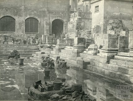 Roman Baths - corner showing bases of columns c. 1890