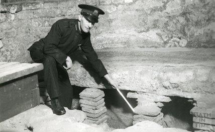 Roman Baths guide showing detail of hypocaust, c.1960s?