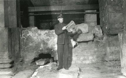 Roman Baths guide showing Roman roof tile, c.1960s?