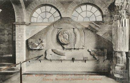 Roman Baths; Gorgon's Head and Temple Pediment, Bath 1907
