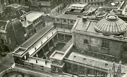 View of the Roman Baths and Pump Room from the tower of Bath Abbey, c.1950s?