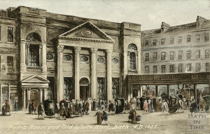 Pump Room and the Old White Hart, Bath c.1825