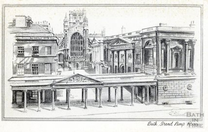 Colonnade, Pump Room and Abbey, Bath,