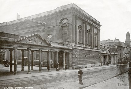 Pump Room, view of West end with Colonnade and front of Kings and Queens Baths c. 1910
