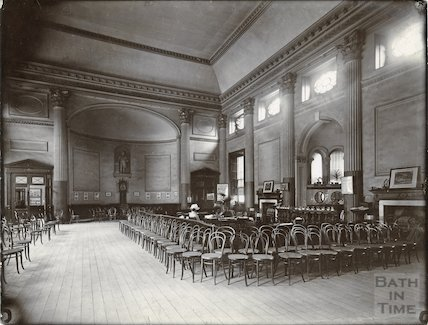 Pump Room interior showing enclosure reserved for subscribers c. 1890