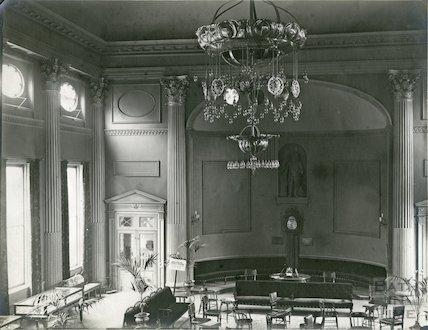 Pump Room interior showing chandelier, c.1910