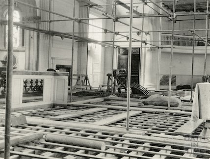 Pump Room during redecorations, July 1929