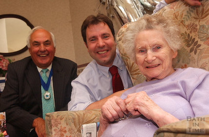 Mrs Nancy Riddick celebrating her 100th birthday with MP Dan Norris and Councillor Ian Dewey, August 2006