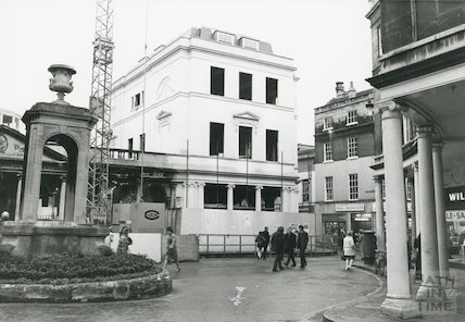 Pump Room - New Roman Baths gift shop in advanced stage of construction December 1972.