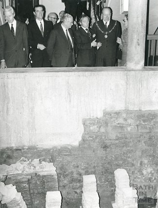 Opening of reconstructed Pump Room corner (and Hypocaust), April 1973