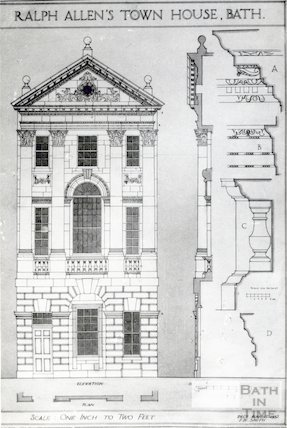 Ralph Allen's Townhouse - reproduction of elevation, plan, section and details of front 1932