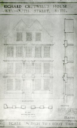 Cruttwell's House, Weymouth Street - elevation plan and sections from drawings by F. William Smith