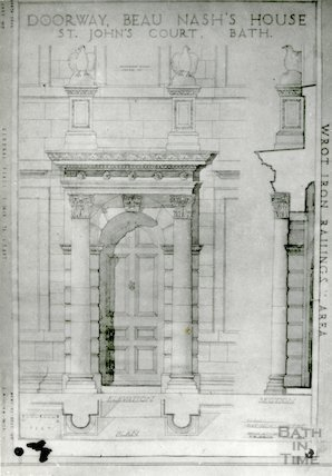 House of Richard 'Beau' Nash - doorway drawings by F.W. Smith 1941