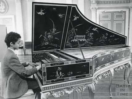 Specially-made harpsichord at Prior Park College 1984