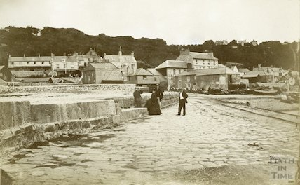 Lyme Regis looking inland from the Cobb, Dorset c.1880