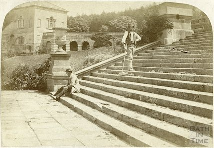 Prior Park - east wing and terrace c.1870