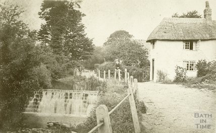 Unidentified weir and cottage, c.1870