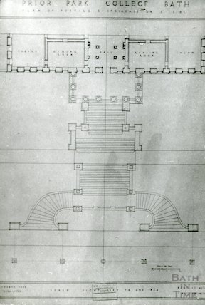 Prior Park. Plan of portico and terraces on North side, 1934-5