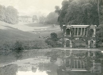 Prior Park. Palladian Bridge and facade of house, c.1900