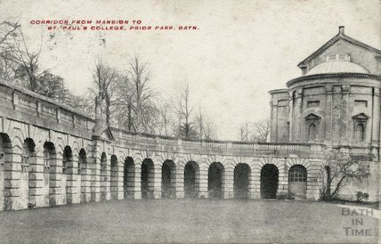 Corridor from mansion to St. Paul's College, Prior Park, c.1906