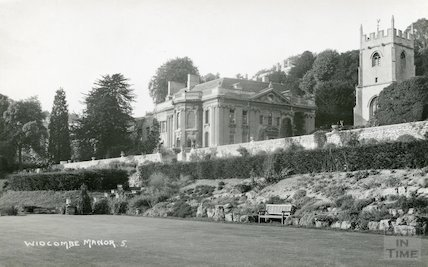 Widcombe Manor, view from the gardens of south west and tower of Widcombe Church to right, c.1930s