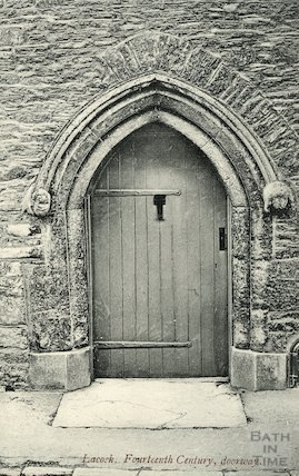 Lacock Abbey Fourteenth Century doorway, c.1910