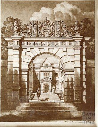 Watercolour of Cold Ashton Manor House gateway
