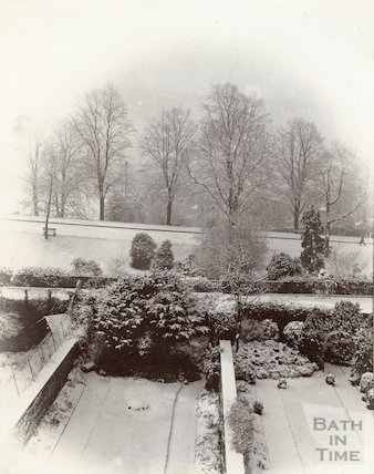 View over Gravel Walk and Royal Avenue from the rear of a house in Brock Street, Bath, c.1900
