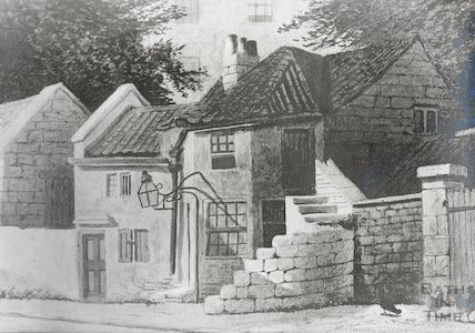 Mill Cottages, Spring Gardens. Photo of watercolour by G. Hobson.