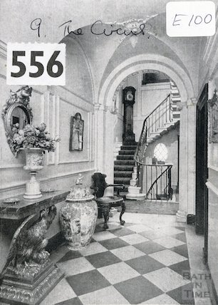 9 The Circus - side hall and stairs, c.1960s