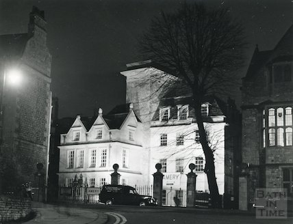 St. John's Hospital, Bath, floodlit, December 1968