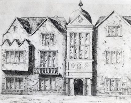 St. John's Hospital, Bath, artists impression based from Gilmore's Map of 1694