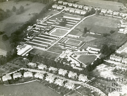 c.1920s Aerial view of Ministry of Pensions Hospital, Combe Park, Bath - Ariel view