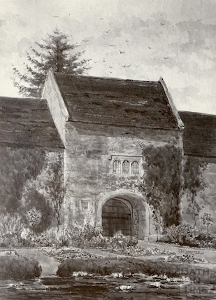 Newton Park Gateway. Photograph of watercolour, date unknown, c.1900?