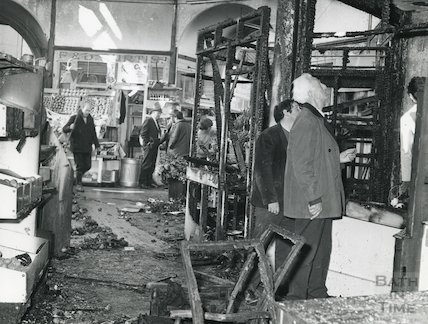 Interior of Guildhall Market, Bath, after fire 1972