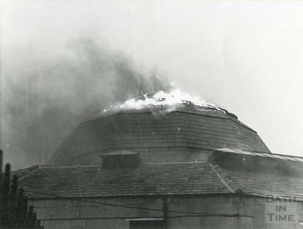 Fire in roof of Guildhall Market, Bath, 1972