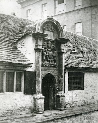 Old Gateway of Bellott's Hospital, Bath before Rebuilding c.1858