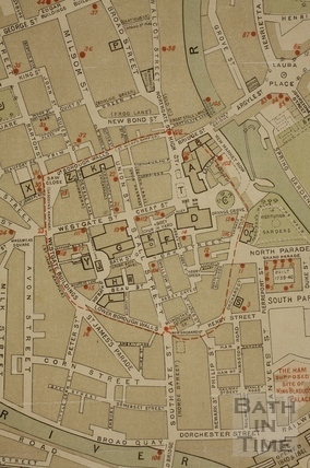 Historic Map of Bath prepared by T. Sturge Cotterell 1898 - detail