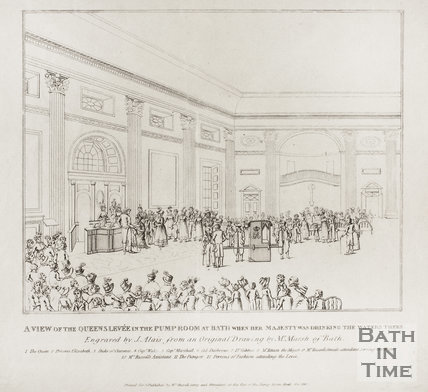 A View of the Queen's Levee in the Pump Room at Bath when Her Majesty was Drinking the waters there 1817