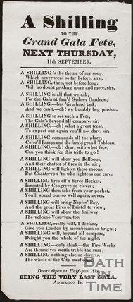 Sydney Gardens, Bath. A Shilling to the Grand Gala Fete, Next Thursday, 11th September 1845