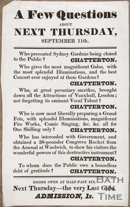 Sydney Gardens, Bath. A few Questions about Next Thursday, September 11th 1845