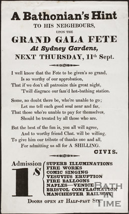 Sydney Gardens, Bath. A Bathonians Hint to his Neighbours upon the Grand Gala Fete 1845